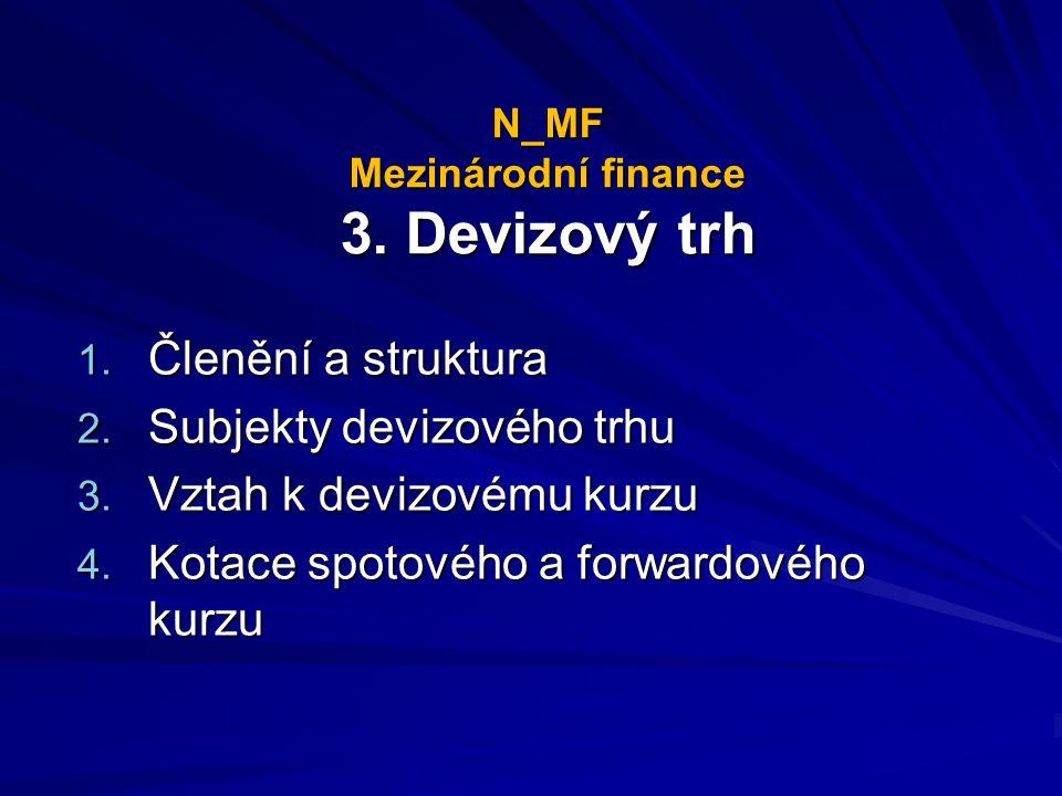 N_MF Mezinárodní finance 3. Devizový trh 1. Členění a struktura 2. Subjekty devizového trhu 3. Vztah k devizovému kurzu 4. Kotace spotového a forwardo
