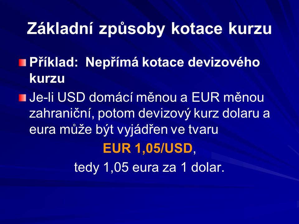 Základní způsoby kotace kurzu Příklad: Nepřímá kotace devizového kurzu Je-li USD domácí měnou a EUR měnou zahraniční, potom devizový kurz dolaru a eura může být vyjádřen ve tvaru EUR 1,05/USD, tedy 1,05 eura za 1 dolar.