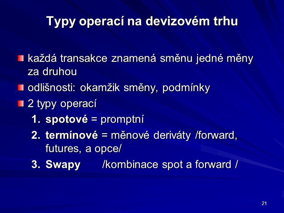 Typy operací na devizovém trhu každá transakce znamená směnu jedné měny za druhou odlišnosti: okamžik směny, podmínky 2 typy operací 1.spotové = promptní 2.termínové = měnové deriváty /forward, futures, a opce/ 3.Swapy/kombinace spot a forward / 21