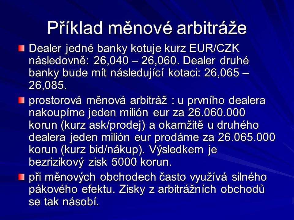 Příklad měnové arbitráže Dealer jedné banky kotuje kurz EUR/CZK následovně: 26,040 – 26,060. Dealer druhé banky bude mít následující kotaci: 26,065 –