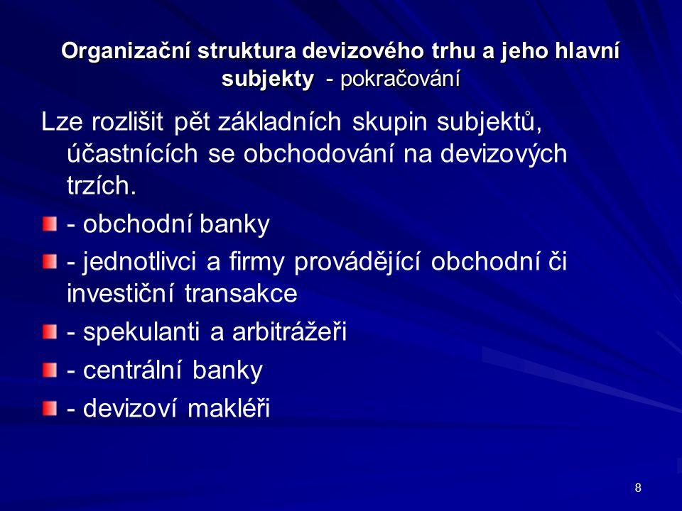 Organizační struktura devizového trhu a jeho hlavní subjekty - pokračování Lze rozlišit pět základních skupin subjektů, účastnících se obchodování na