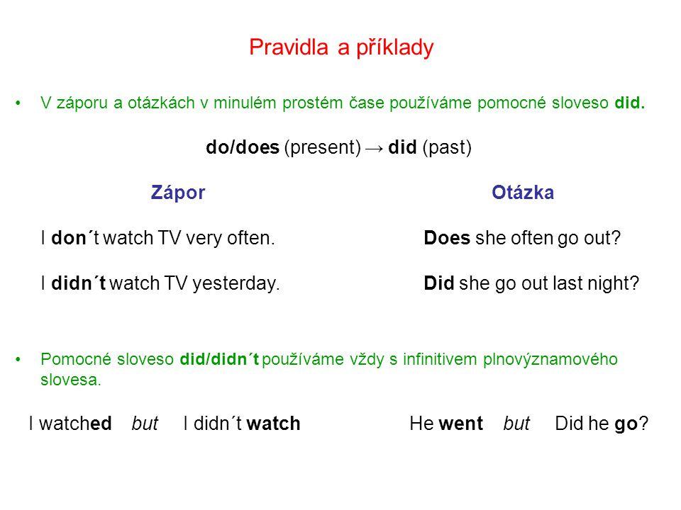 Záporná věta – minulý čas prostý Příklady I didn´t do my homework.
