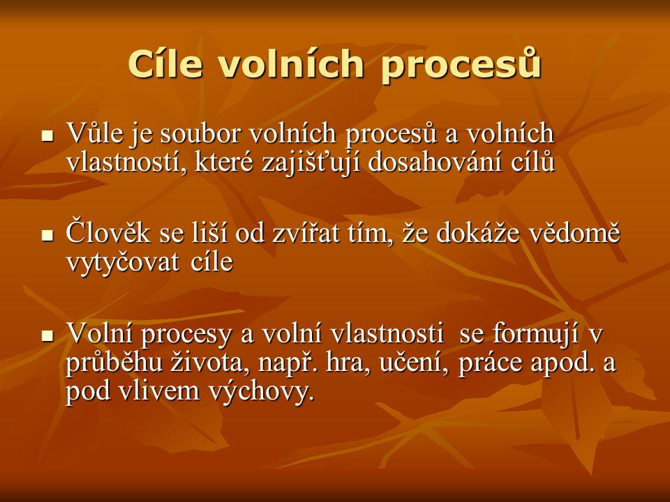 Cíle volních procesů Vůle je soubor volních procesů a volních vlastností, které zajišťují dosahování cílů Vůle je soubor volních procesů a volních vla