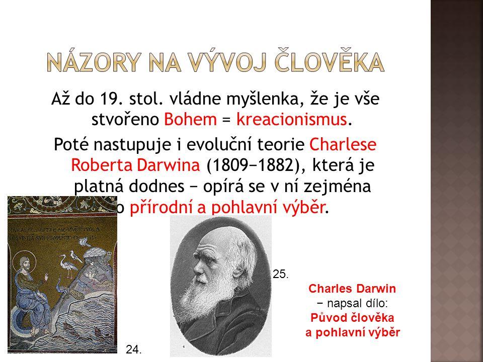 Až do 19.stol. vládne myšlenka, že je vše stvořeno Bohem = kreacionismus.