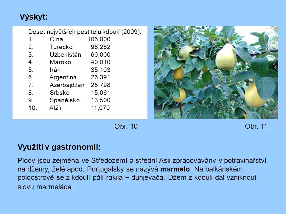 Deset největších pěstitelů kdoulí (2009): 1. Čína 105,000 2. Turecko 96,282 3. Uzbekistán 60,000 4. Maroko 40,010 5. Irán 35,103 6. Argentina 26,391 7