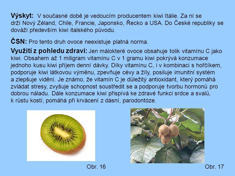 Výskyt: V současné době je vedoucím producentem kiwi Itálie. Za ní se drží Nový Zéland, Chile, Francie, Japonsko, Řecko a USA. Do České republiky se d