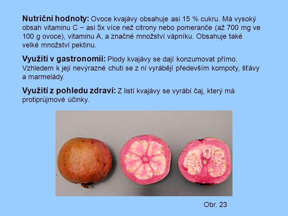 Nutriční hodnoty: Ovoce kvajávy obsahuje asi 15 % cukru. Má vysoký obsah vitaminu C − asi 5x více než citrony nebo pomeranče (až 700 mg ve 100 g ovoce