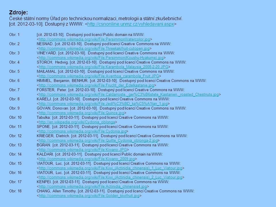 Zdroje: České státní normy Úřad pro technickou normalizaci, metrologii a státní zkušebnictví. [cit. 2012-03-10]. Dostupný z WWW: http://csnonline.unmz