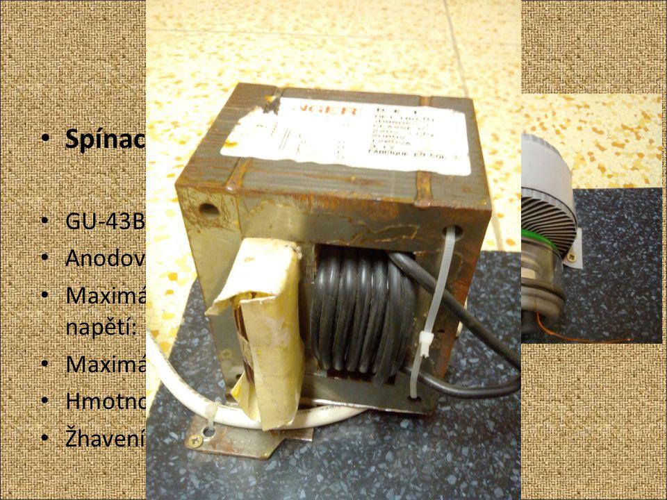 Jednotlivé části VTTC Spínací elektronka GU-43B Ruská výkonová Anodová ztráta: 1kW Maximální anodové napětí: 3,5 kV Maximální frekvence spínání: 75 MH