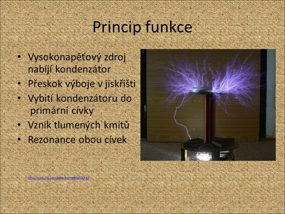 Princip funkce Vysokonapěťový zdroj nabíjí kondenzátor Přeskok výboje v jiskřišti Vybití kondenzátoru do primární cívky Vznik tlumených kmitů Rezonanc