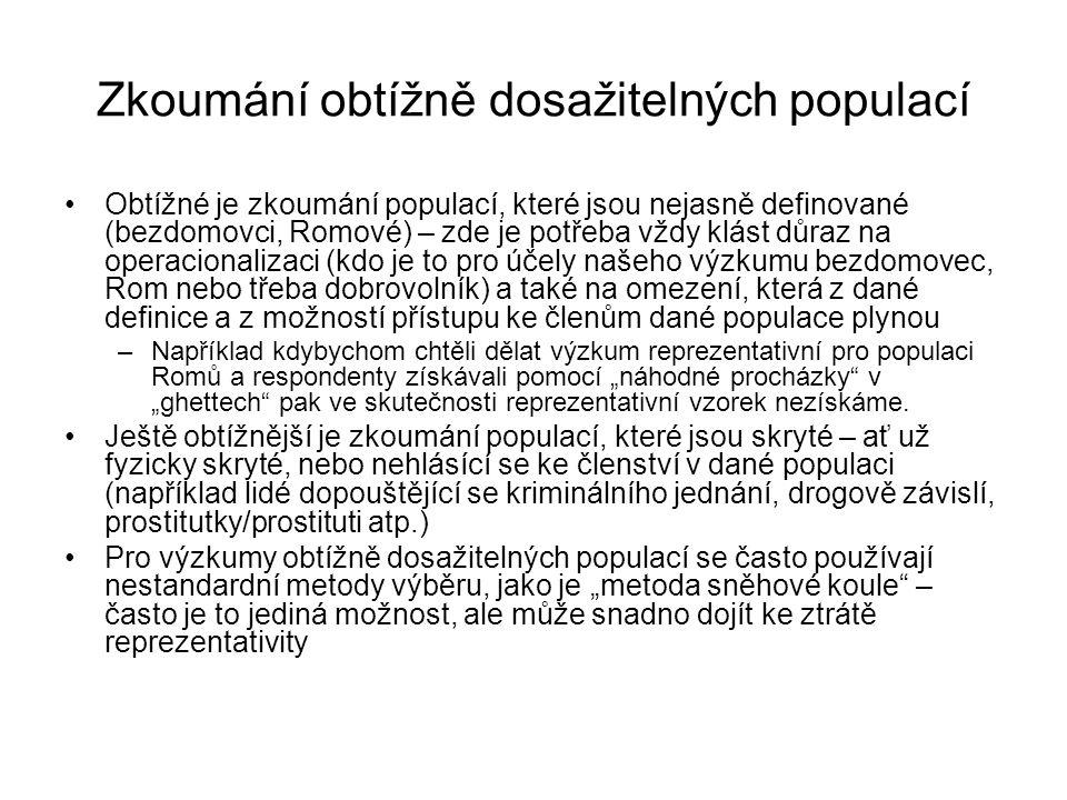 Zkoumání obtížně dosažitelných populací Obtížné je zkoumání populací, které jsou nejasně definované (bezdomovci, Romové) – zde je potřeba vždy klást d