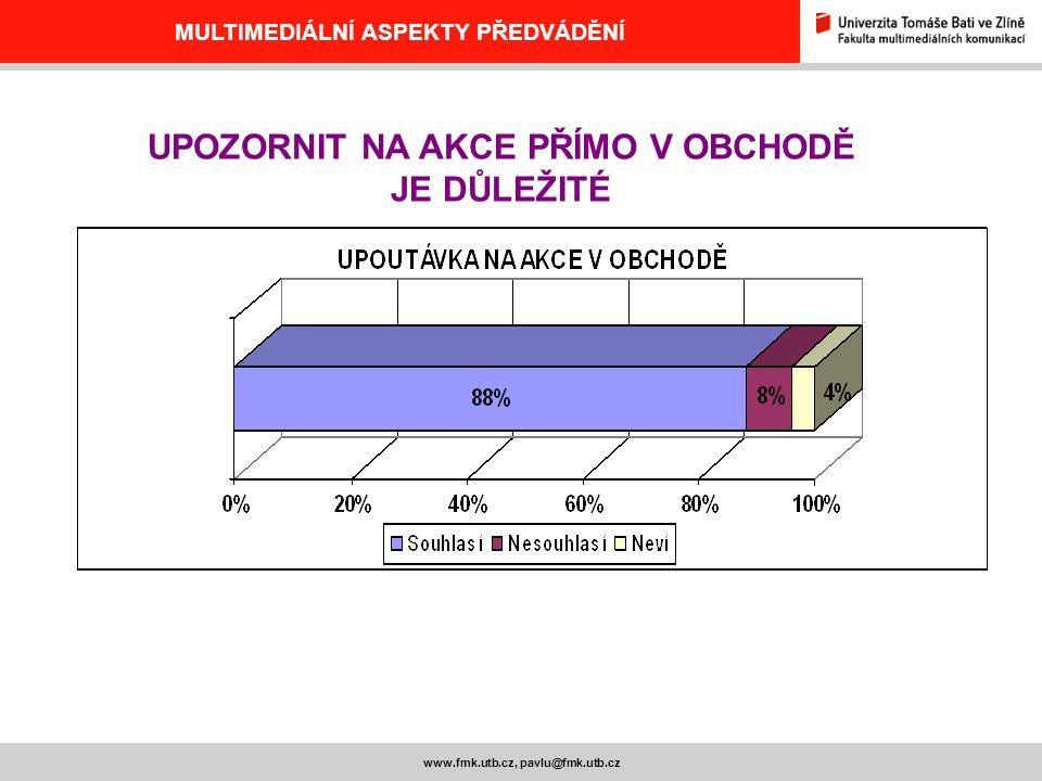 MULTIMEDIÁLNÍ ASPEKTY PŘEDVÁDĚNÍ www.fmk.utb.cz, pavlu@fmk.utb.cz UPOZORNIT NA AKCE PŘÍMO V OBCHODĚ JE DŮLEŽITÉ