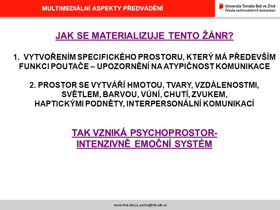 www.fmk.utb.cz, pavlu@fmk.utb.cz MULTIMEDIÁLNÍ ASPEKTY PŘEDVÁDĚNÍ JAK SE MATERIALIZUJE TENTO ŽÁNR? 1.VYTVOŘENÍM SPECIFICKÉHO PROSTORU, KTERÝ MÁ PŘEDEV