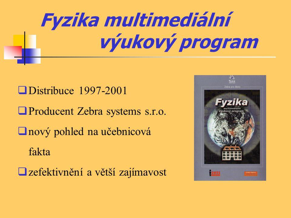 Fyzika multimediální výukový program  Distribuce 1997-2001  Producent Zebra systems s.r.o.