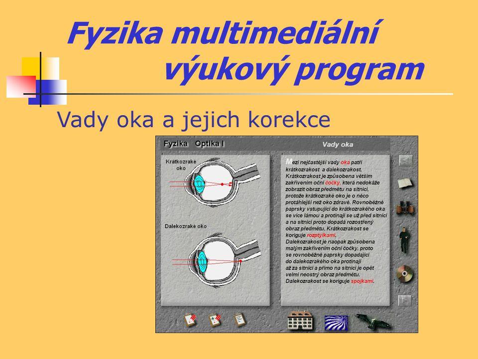 Fyzika multimediální výukový program Vady oka a jejich korekce