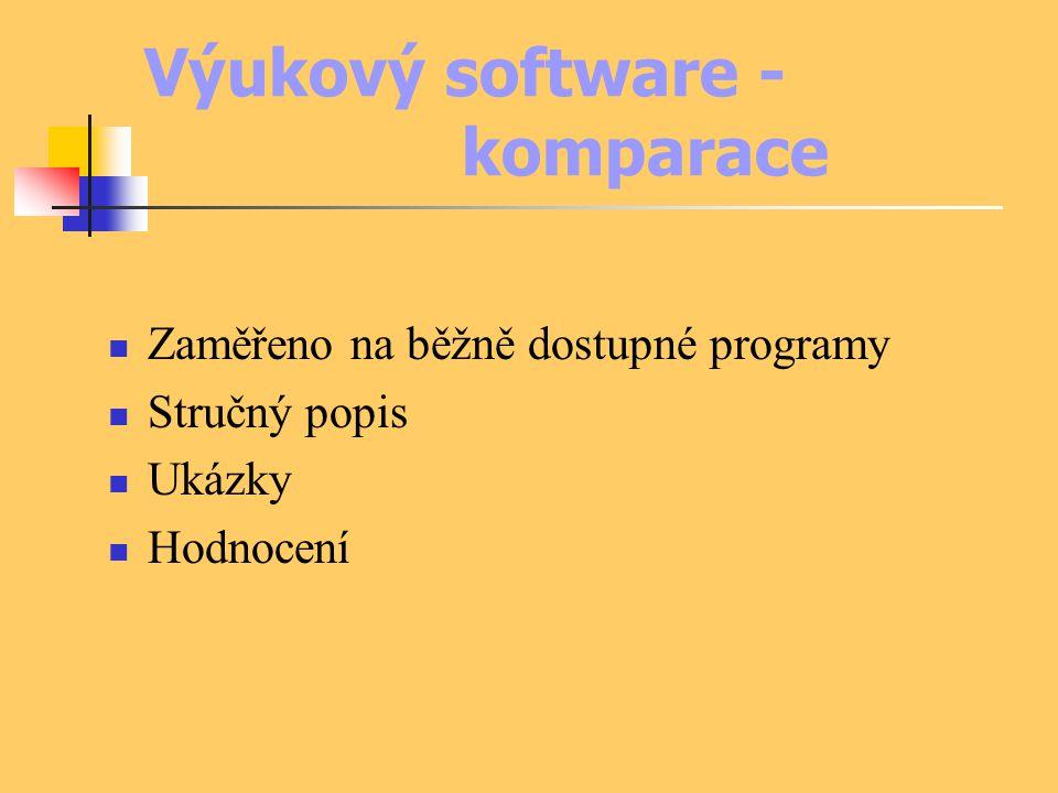 Výukový software - komparace Zaměřeno na běžně dostupné programy Stručný popis Ukázky Hodnocení