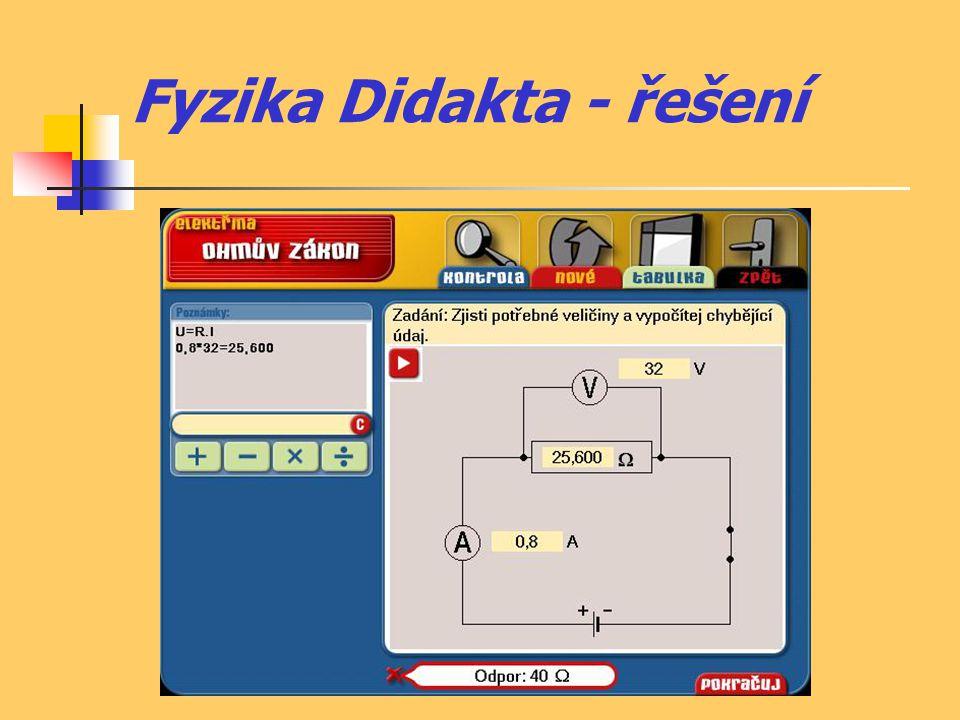 Fyzika Didakta - zápory  nutnost vlastnit CD ke každému počítači  příklady spíše kvantitativního charakteru  nerozvíjí příliš fyzikální myšlení  spíše jen pro procvičení používání základních vzorců  při chybném výsledku neukáže postup správného řešení