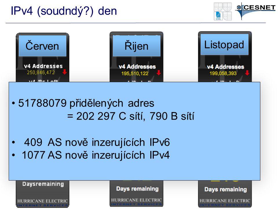 IPv4 (soudndý?) den 51788079 přidělených adres = 202 297 C sítí, 790 B sítí 409 AS nově inzerujících IPv6 1077 AS nově inzerujících IPv4 51788079 přidělených adres = 202 297 C sítí, 790 B sítí 409 AS nově inzerujících IPv6 1077 AS nově inzerujících IPv4 Řijen Listopad Červen