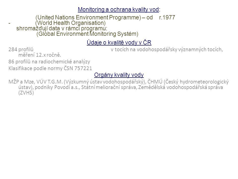 Monitoring a ochrana kvality vod: -UNEP (United Nations Environment Programme) – od r.1977 - WHO (World Health Organisation) shromažďují data v rámci