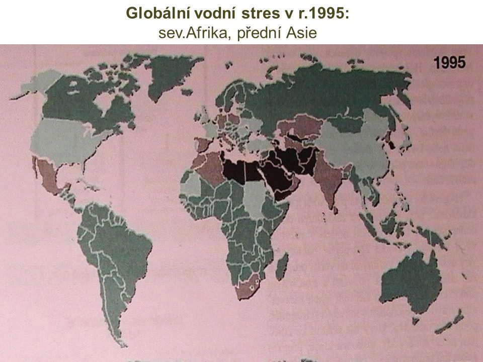 Globální vodní stres v r.1995: sev.Afrika, přední Asie