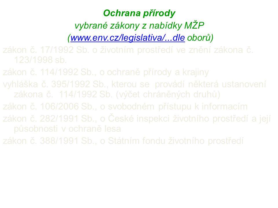 Ochrana přírody vybrané zákony z nabídky MŽP (www.env.cz/legislativa/...dle oborů)www.env.cz/legislativa/...dle zákon č. 17/1992 Sb. o životním prostř
