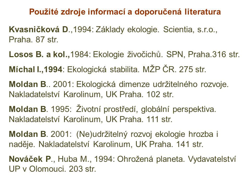 Použité zdroje informací a doporučená literatura Kvasničková D.,1994: Základy ekologie. Scientia, s.r.o., Praha. 87 str. Losos B. a kol.,1984: Ekologi