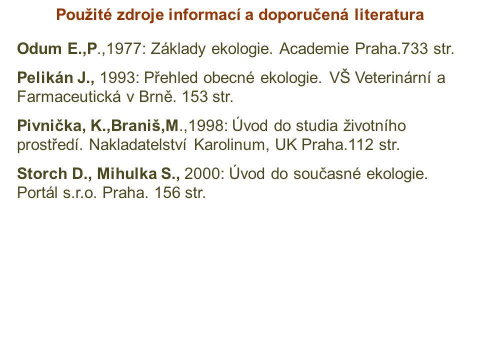 Použité zdroje informací a doporučená literatura Odum E.,P.,1977: Základy ekologie. Academie Praha.733 str. Pelikán J., 1993: Přehled obecné ekologie.