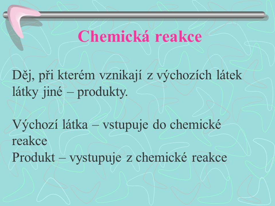 Chemická rovnice Zápis chemické reakce vyjádřený značkami a vzorci chemických látek Počet atomů výchozích látek musí být stejný jako počet atomů produktů