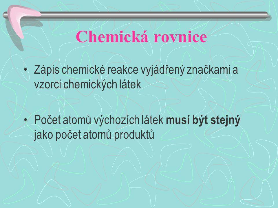 Zápis reakce Slučováním kyslíku a vodíku vzniká voda O 2 + H 2 H2OH2O Vyčíslení rovnice O 2 + 2H 2 2H 2 O