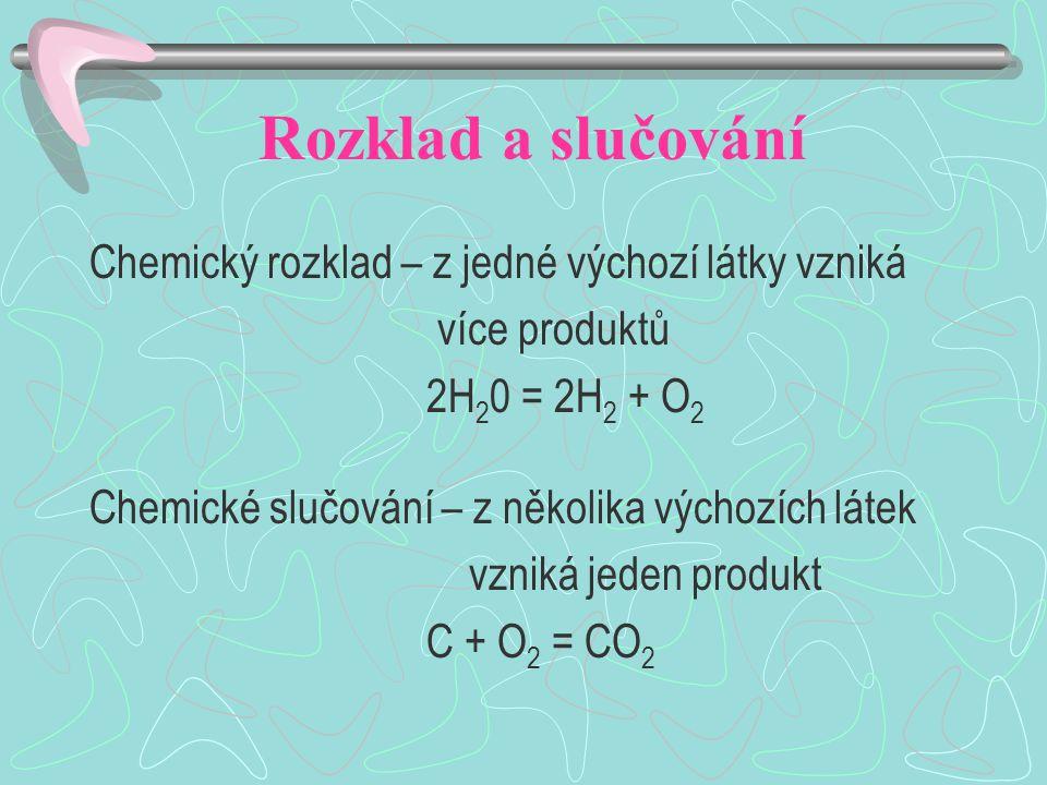 Rozklad a slučování Chemický rozklad – z jedné výchozí látky vzniká více produktů 2H 2 0 = 2H 2 + O 2 Chemické slučování – z několika výchozích látek vzniká jeden produkt C + O 2 = CO 2