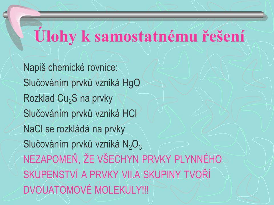 Úlohy k samostatnému řešení Napiš chemické rovnice: Slučováním prvků vzniká HgO Rozklad Cu 2 S na prvky Slučováním prvků vzniká HCl NaCl se rozkládá na prvky Slučováním prvků vzniká N 2 O 3 NEZAPOMEŇ, ŽE VŠECHYN PRVKY PLYNNÉHO SKUPENSTVÍ A PRVKY VII.A SKUPINY TVOŘÍ DVOUATOMOVÉ MOLEKULY!!!