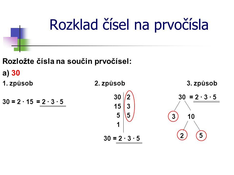 Rozklad čísel na prvočísla Rozložte čísla na součin prvočísel: 1. způsob a) 30 30 = 2 ∙ 15= 2 ∙ 3 ∙ 5 2. způsob 30 2 153 55 1 30= 2 ∙ 3 ∙ 5 3. způsob