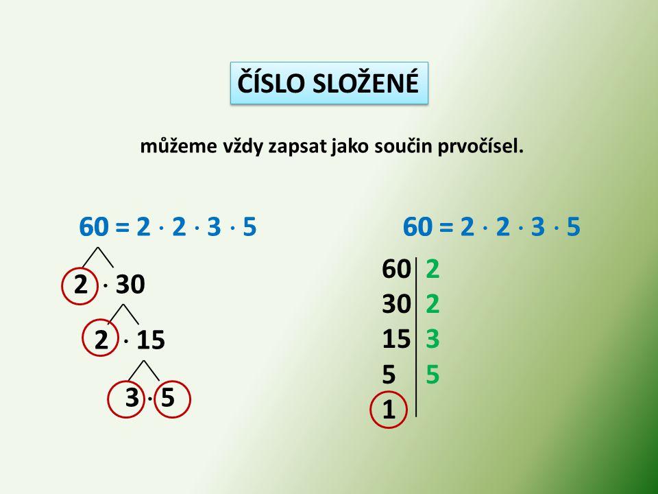 ČÍSLO SLOŽENÉ můžeme vždy zapsat jako součin prvočísel. 60 = 2  2  3  5 2  30 2  15 3  5 60 2 30 2 15 3 5 1 60 = 2  2  3  5 60 =