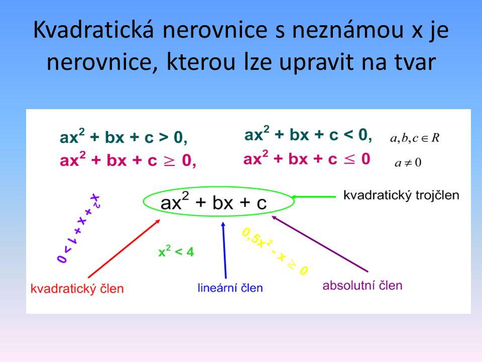 Kvadratická nerovnice s neznámou x je nerovnice, kterou lze upravit na tvar