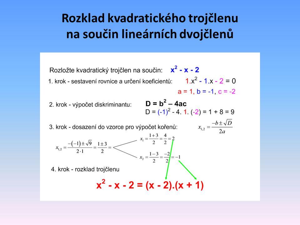Rozklad kvadratického trojčlenu na součin lineárních dvojčlenů