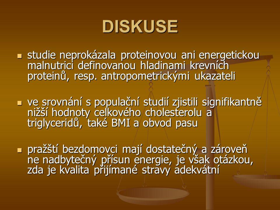 DISKUSE studie neprokázala proteinovou ani energetickou malnutrici definovanou hladinami krevních proteinů, resp.