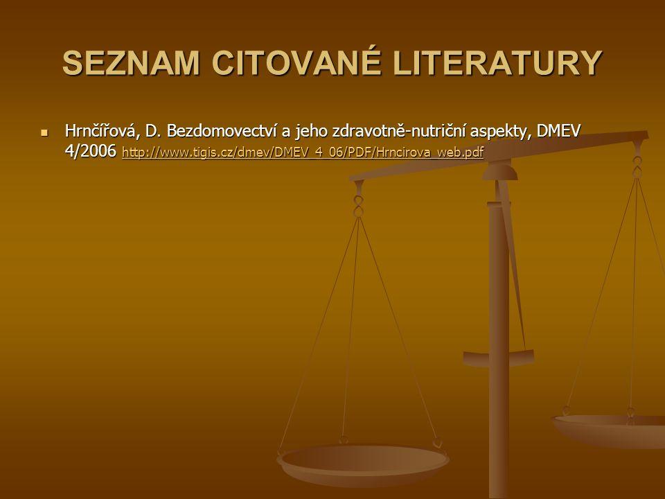 SEZNAM CITOVANÉ LITERATURY Hrnčířová, D.