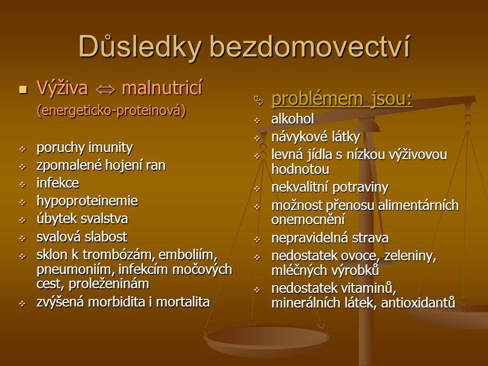 Důsledky bezdomovectví Výživa  malnutricí (energeticko-proteinová) Výživa  malnutricí (energeticko-proteinová)  poruchy imunity  zpomalené hojení ran  infekce  hypoproteinemie  úbytek svalstva  svalová slabost  sklon k trombózám, emboliím, pneumoniím, infekcím močových cest, proleženinám  zvýšená morbidita i mortalita  problémem jsou:  alkohol  návykové látky  levná jídla s nízkou výživovou hodnotou  nekvalitní potraviny  možnost přenosu alimentárních onemocnění  nepravidelná strava  nedostatek ovoce, zeleniny, mléčných výrobků  nedostatek vitaminů, minerálních látek, antioxidantů