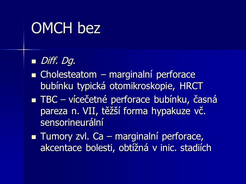 OMCH bez Diff. Dg. Diff. Dg. Cholesteatom – marginalní perforace bubínku typická otomikroskopie, HRCT Cholesteatom – marginalní perforace bubínku typi