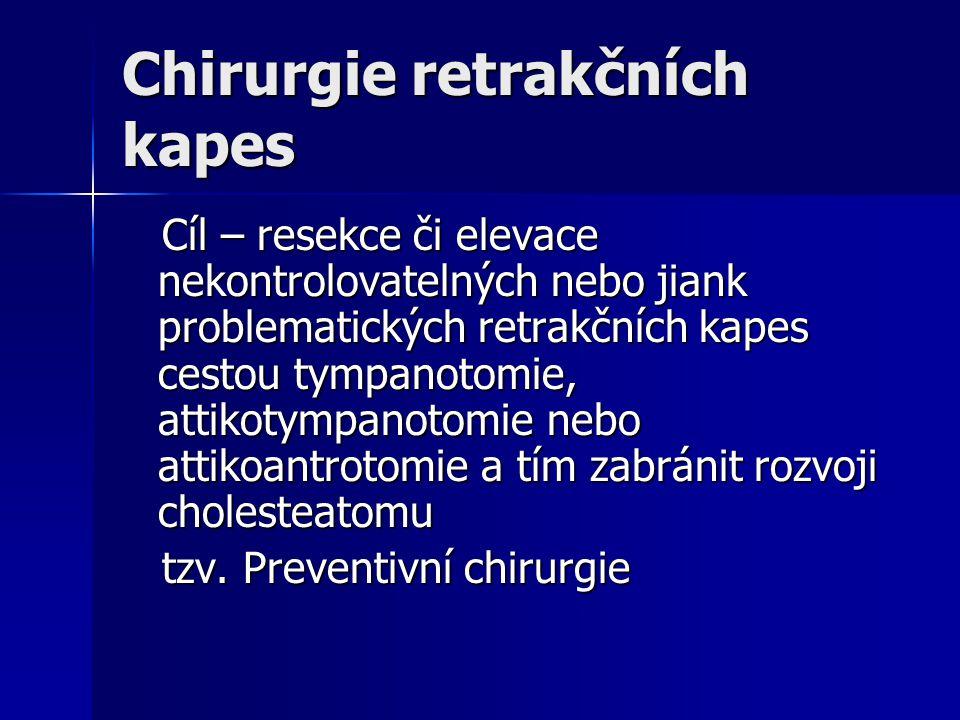 Chirurgie retrakčních kapes Cíl – resekce či elevace nekontrolovatelných nebo jiank problematických retrakčních kapes cestou tympanotomie, attikotympa