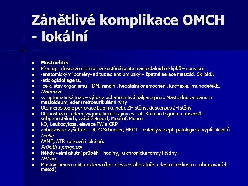 Zánětlivé komplikace OMCH - lokální Mastoiditis Mastoiditis Přestup infekce ze sliznice na kostěná septa mastoidálních sklípků – souvisí s Přestup inf