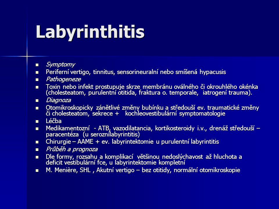 Labyrinthitis Symptomy Symptomy Periferní vertigo, tinnitus, sensorineuralní nebo smíšená hypacusis Periferní vertigo, tinnitus, sensorineuralní nebo