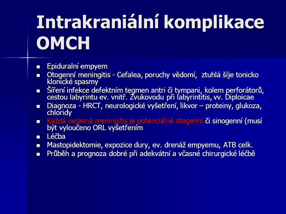 Intrakraniální komplikace OMCH Epiduralní empyem Epiduralní empyem Otogenní meningitis - Cefalea, poruchy vědomí, ztuhlá šíje tonicko klonické spasmy