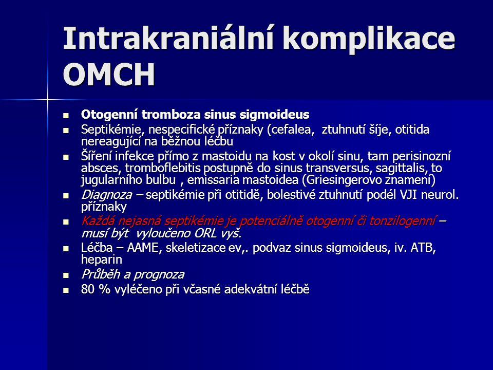 Intrakraniální komplikace OMCH Otogenní tromboza sinus sigmoideus Otogenní tromboza sinus sigmoideus Septikémie, nespecifické příznaky (cefalea, ztuhn