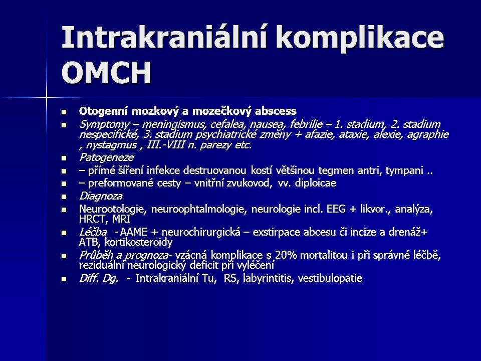 Intrakraniální komplikace OMCH Otogenní mozkový a mozečkový abscess Otogenní mozkový a mozečkový abscess Symptomy – meningismus, cefalea, nausea, febr