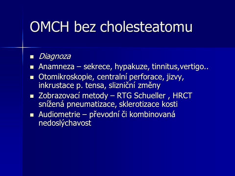 OMCH bez cholesteatomu Diagnoza Diagnoza Anamneza – sekrece, hypakuze, tinnitus,vertigo.. Anamneza – sekrece, hypakuze, tinnitus,vertigo.. Otomikrosko
