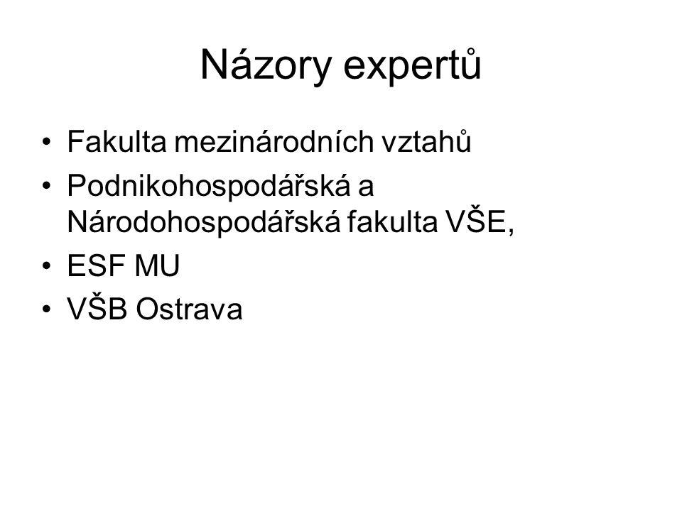 Názory expertů Fakulta mezinárodních vztahů Podnikohospodářská a Národohospodářská fakulta VŠE, ESF MU VŠB Ostrava