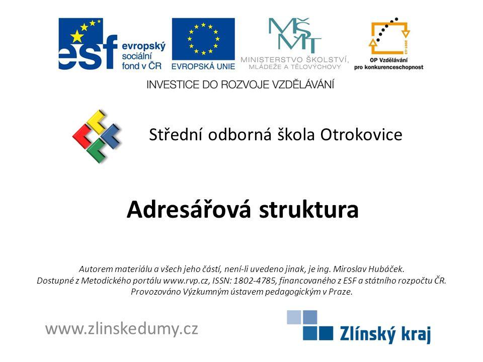 Adresářová struktura Střední odborná škola Otrokovice www.zlinskedumy.cz Autorem materiálu a všech jeho částí, není-li uvedeno jinak, je ing.