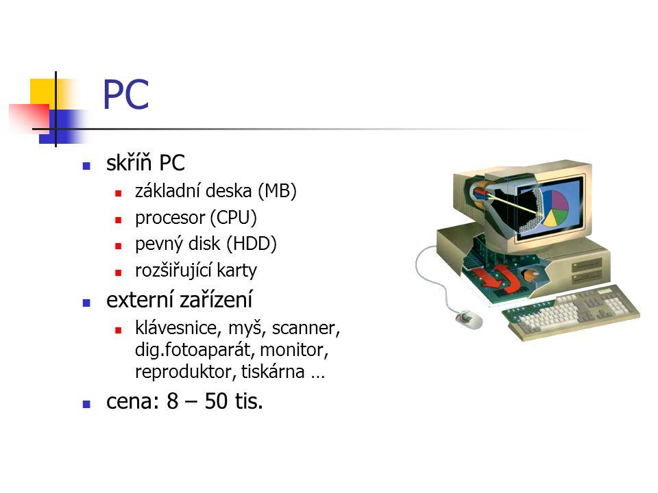 PC skříň PC základní deska (MB) procesor (CPU) pevný disk (HDD) rozšiřující karty externí zařízení klávesnice, myš, scanner, dig.fotoaparát, monitor, reproduktor, tiskárna … cena: 8 – 50 tis.