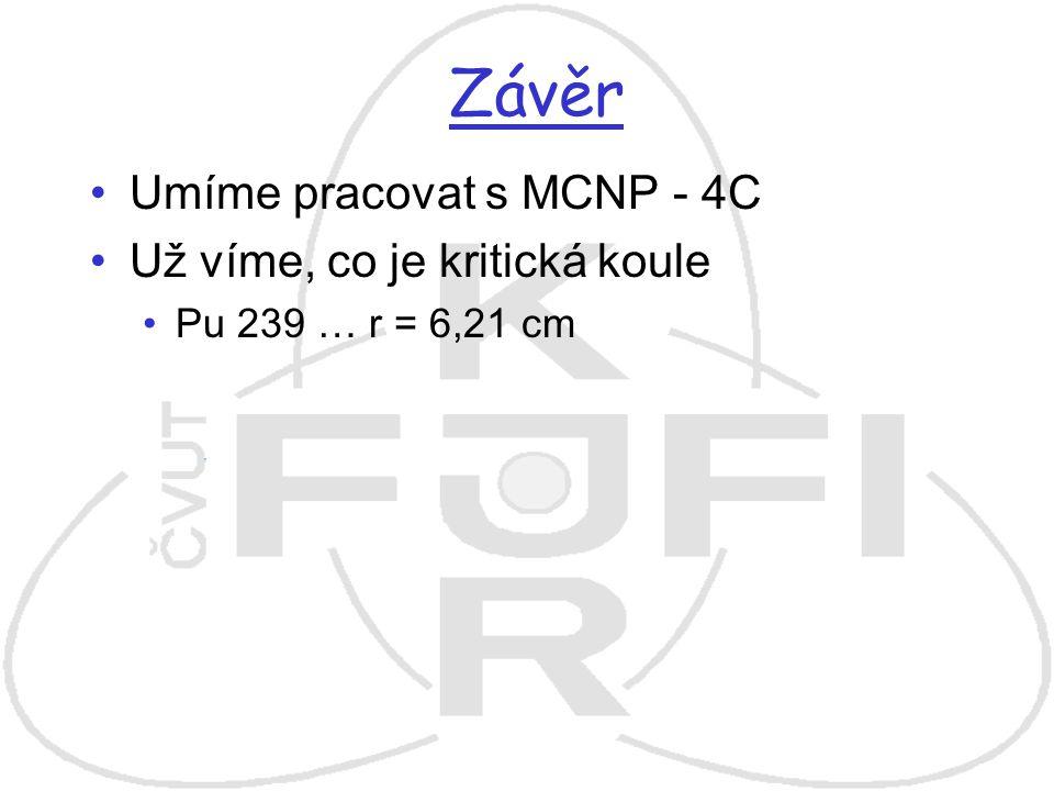 Závěr Umíme pracovat s MCNP - 4C Už víme, co je kritická koule Pu 239 … r = 6,21 cm
